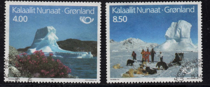 Greenland  Scott 240-1 1991 Nordic Tourism stamp set used
