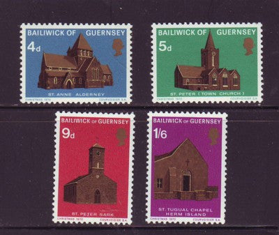 Guernsey Scott 37-40 1970  Christmas Churches stamp set mint NH