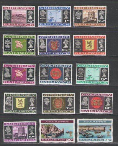 Guernsey Scott 41-55 1971 Decimal Conversion long stamp set mint NH