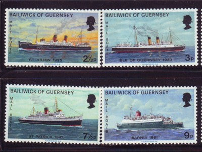 Guernsey Scott  77-80 1973 Mail Boats stamp set mint NH
