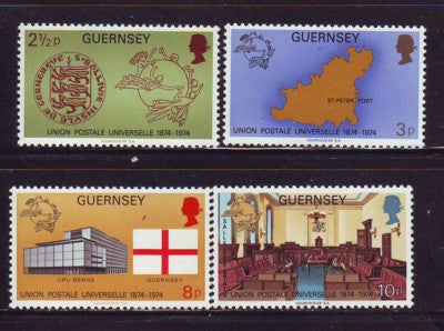 Guernsey Scott  111-14 1974 100th Anniversary UPU stamp set mint NH