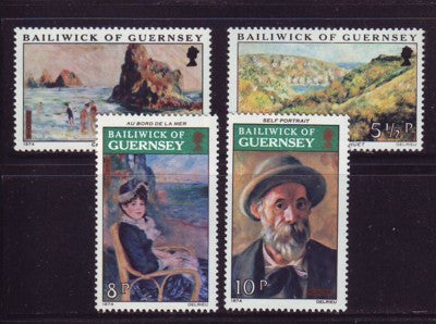 Guernsey Scott  115-8 1974 Renoir Paintings stamp set mint NH