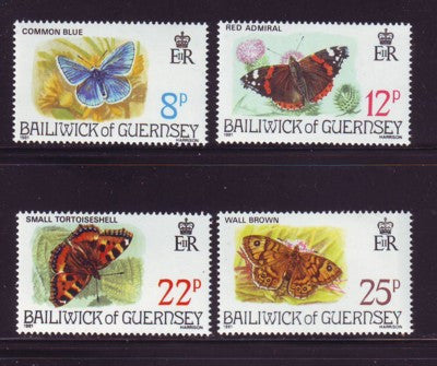 Guernsey Scott 218-21 1981 Butterflies stamp set mint NH