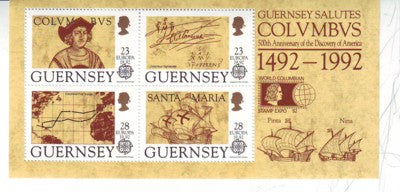 Guernsey Scott  470b 1992 Columbus Europa stamp sheet mint NH Stamp Expo ovpt