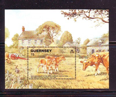 Guernsey Scott  475 1992 Cattle stamp souvenir sheet mint NH