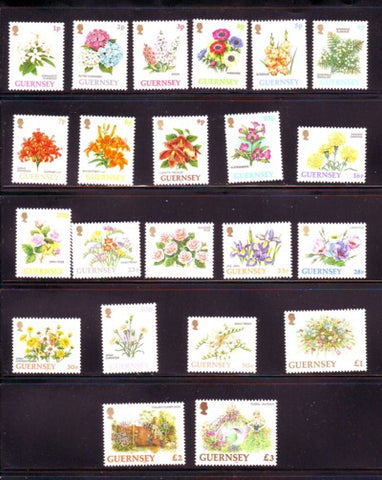 Guernsey Scott  476-97 1992-1996 Flowers long stamp set mint NH