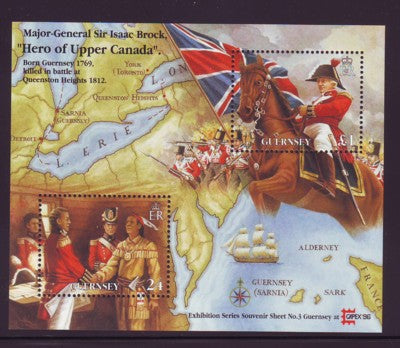 Guernsey Scott  570 1996 Sir Isaac Brock CAPEX 96 stamp souvenir sheet mint NH