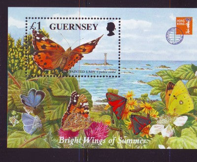 Guernsey Scott  590 1997 Butterflies stamp souvenir sheet mint NH