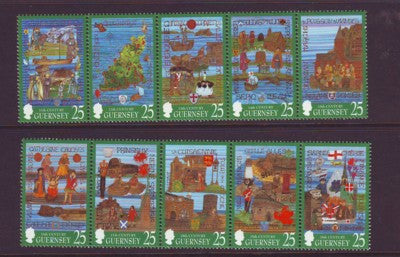 Guernsey Scott  615-24 1998 Millennium Tapestries stamp set mint NH