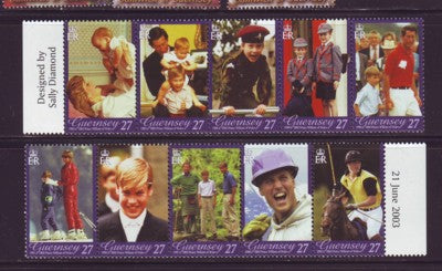 Guernsey Scott  808  2003 21st Birthday Prince William stamp set mint NH