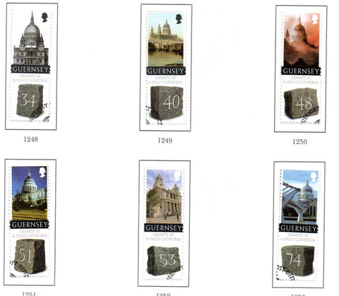 Guernsey Scott  1004-09 2008 300th Anniversary St Paul's Cathedral stamp set used