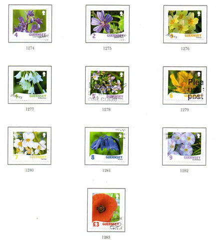 Guernsey Scott  1029-38 2009 Wildflowers stamp set used