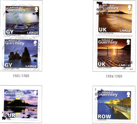 Guernsey Scott  1076-81 2010 Coastline Photos stamp set used