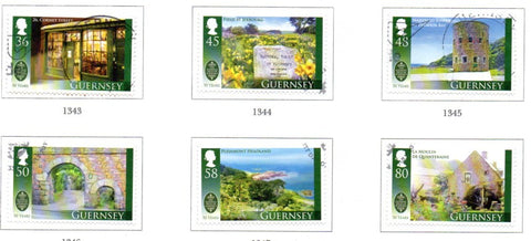 Guernsey Scott  1092-97 2010 National Trust stamp set used