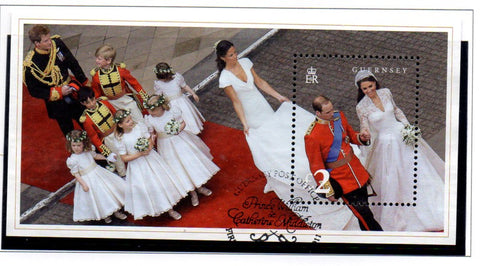 Guernsey Scott  1129 2011 Royal Wedding Prince William  stamp sheet used