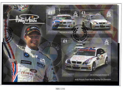 Guernsey Scott  971 2008 Andy Priaulx stamp sheet used