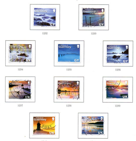 Guernsey Scott  997a-e 2008 Coastline Photos Self Adhesive stamp set used