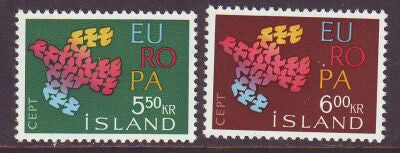 Iceland Scott  340-1 1961 Europa stamp set mint NH
