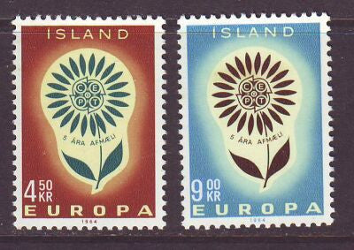 Iceland Scott  367-8 1964 Europa stamp set mint NH
