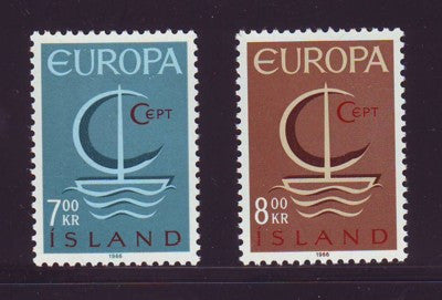Iceland Scott  384-5 1966 Europa stamp set mint NH