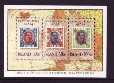 Iceland Scott 772 1993 Italian Flight stamp souvenir sheet mint NH