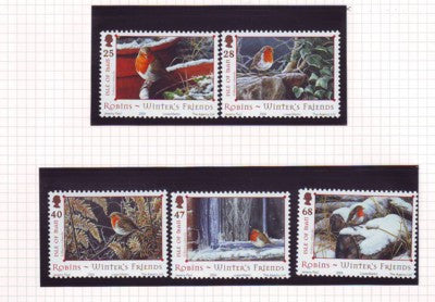 Isle of Man Scott  1069-73 2004 Winter Robins stamp set mint NH