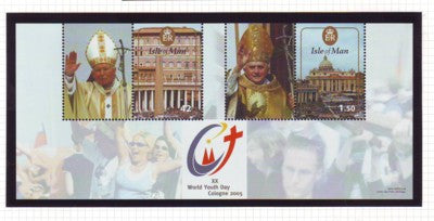 Isle of Man Scott 1120 2005 World Youth Day stamp souvenir sheet mint NH