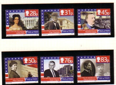 Isle of Man Scott  1151-56 2006 Links with Washington, D.C.,  stamp set mint NH