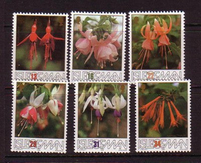 Isle of Man Sc0tt 371-6 1988 Fuchsia Blossoms stamp set mint NH