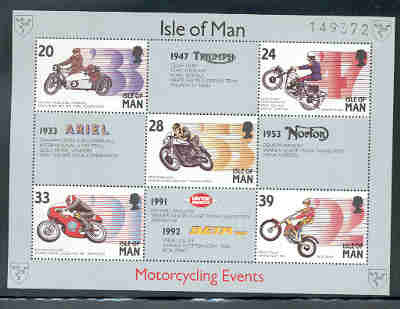 Isle of Man Scott 566a 1993 Motorcycles stamp sheet mint NH