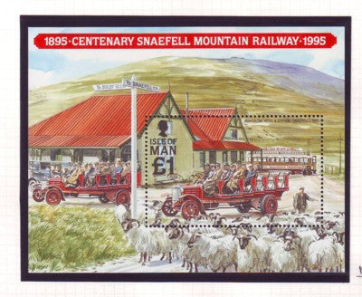 Isle of Man Scott 627 1995 100th Anniversary Snaeful Mtn Railway stamp sheet mint NH