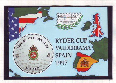 Isle of Man Scott  756 1997 Golf Ryder Cup stamp sheet mint NH