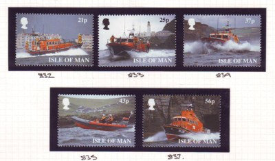 Isle of Man Scott  816-20 1999 Lifeboats stamp set mint NH