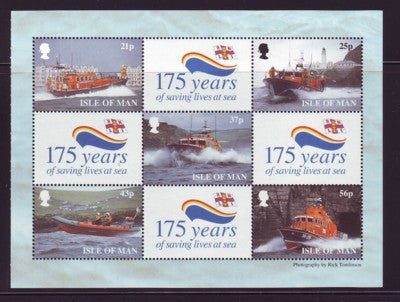 Isle of Man Scott  820a 1999 Lifesaving stamp booklet pane mint NH