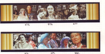 Isle of Man Scott  857-8 2000 Queen Mother 100 stamp set mint NH