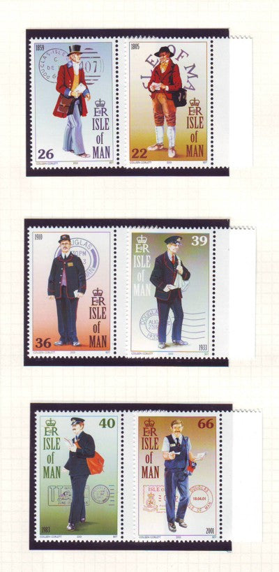 Isle of Man Scott  901-6 2001 Postmen & Cancels stamp set mint NH