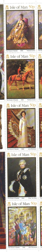 Isle of Man Scott  940 2002  50th Anniv Reign of QE II  stamp strip  NH