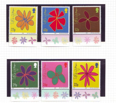 Isle of Man Scott  960-5 2002  McCartney Floral Sketches stamp set mint NH
