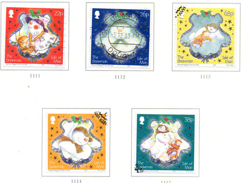 Isle of Man Scott  1008-12 2003 Christmas stamp set used