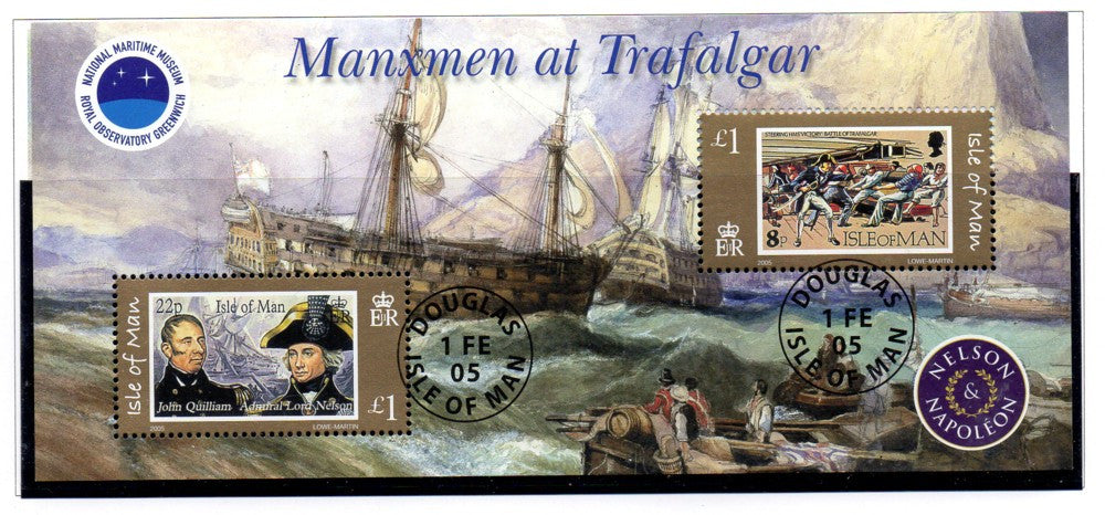 Isle of Man Scott 1086 2005 Battle of Trafalgar stamp souvenir sheet used
