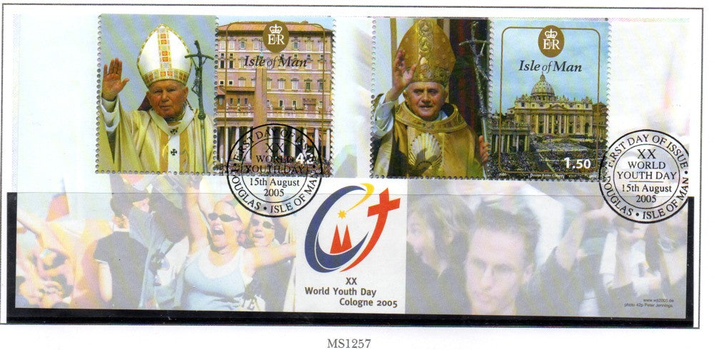 Isle of Man Scott 1120 2005 World Youth Day stamp souvenir sheet used