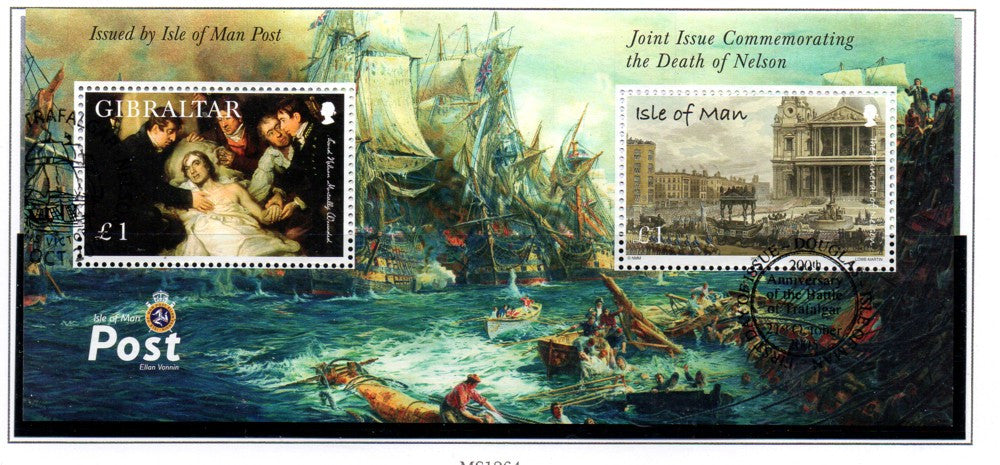 Isle of Man Scott 1127 2005 Death of Nelson stamp souvenir sheet used