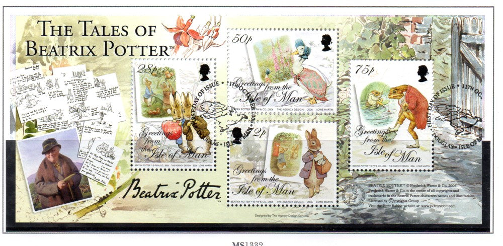 Isle of Man Scott 1171 2006 Beatrix Potter stamp souvenir sheet used