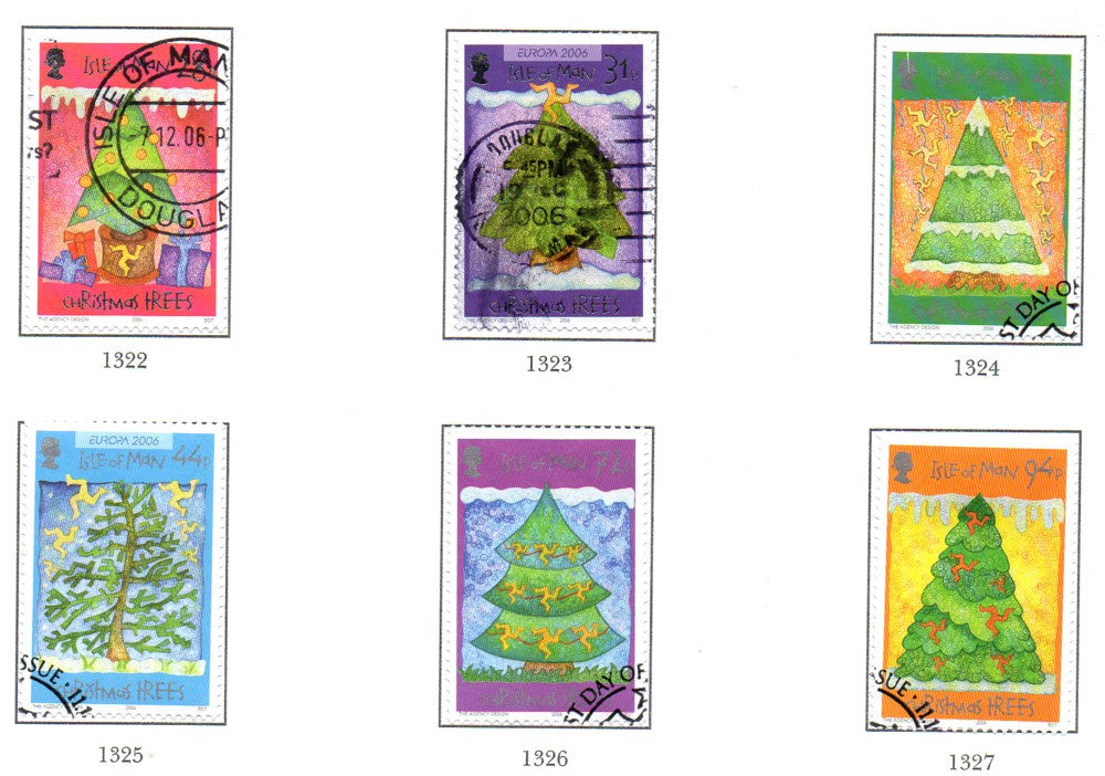 Isle of Man Scott  1172-7 2006 Christmas stamp set used