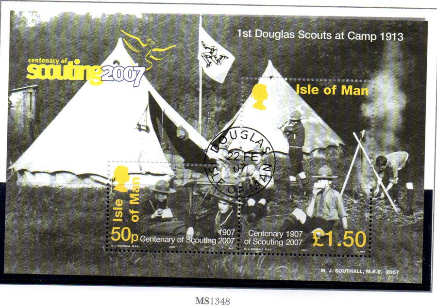 Isle of Man Scott  1188 2007 100th Anniversary Scouting stamp sheet used