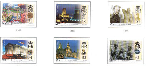 Isle of Man Scott  1208-13 2007 Liverpool Charter stamp set used