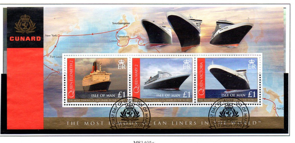 Isle of Man Scott  1239 2008 Cunard Ocean Liners stamp sheet  used