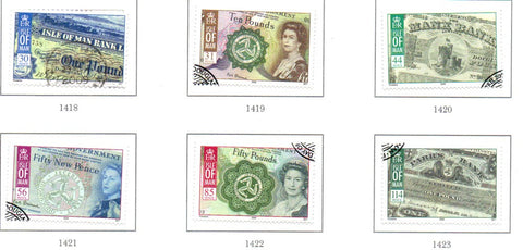 Isle of Man Scott  1252-57 2008 Bank Notes stamp set  used