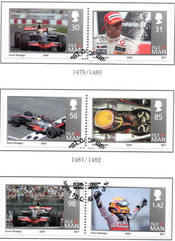 Isle of Man Scott  1296-8 2009 Hamilton Formula One Racer stamp set  used