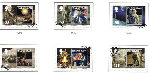 Isle of Man Scott  1312-17 2009 Moon Landing 40 years stamp set  used